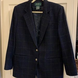 Navy plaid wool blazer by Lauren